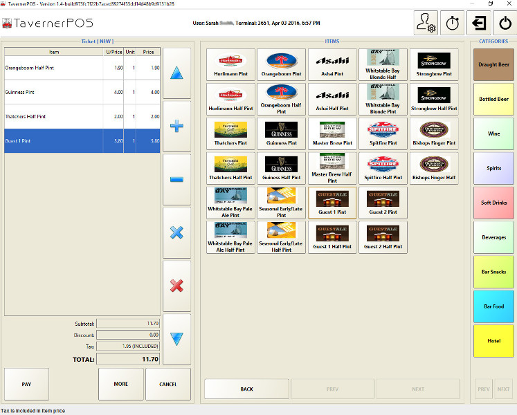 TavernerPOS Screen shot